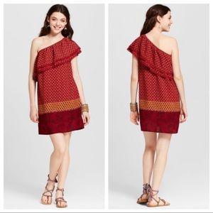 Bohemian Red One Shoulder Ruffle Dress M & XL